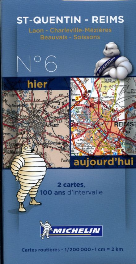 Michelin Dual Map Pack No. 6 Saint Quentin - Reims 1:200,000